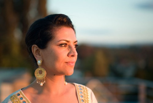 Mahnaz, the bride, watches the sunset